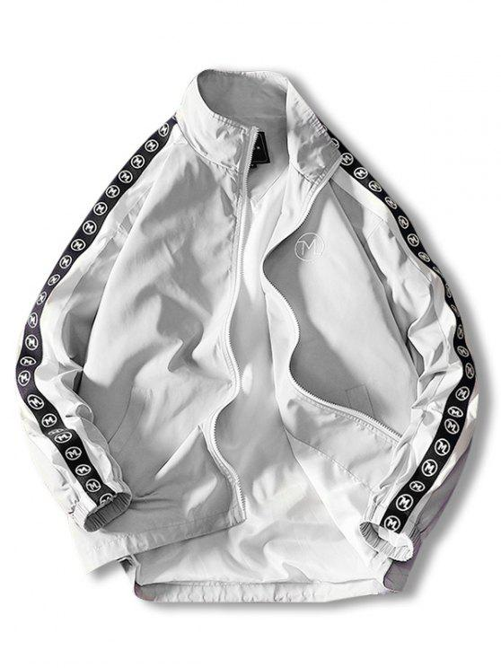 lady Embroidery Letter Stripe Zip Up Jacket - LIGHT GRAY 2XL