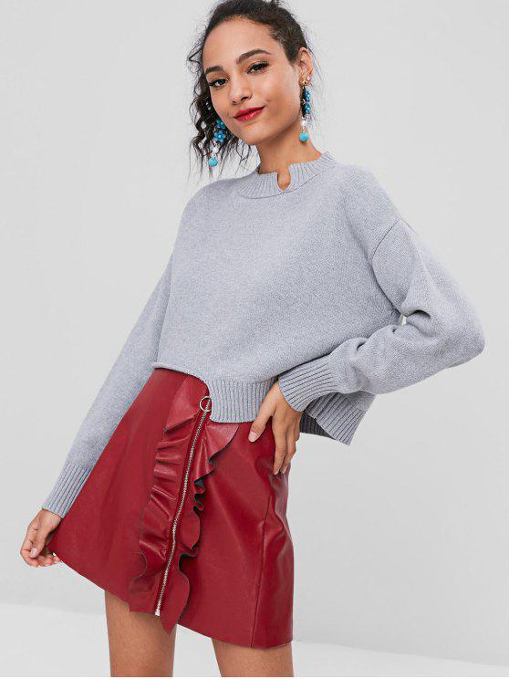 women's Cropped Cutout Sweater - GRAY CLOUD ONE SIZE