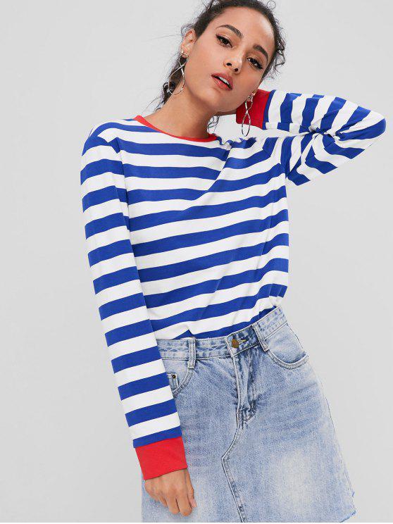 latest Contrasting Striped Sweatshirt - BLUE M