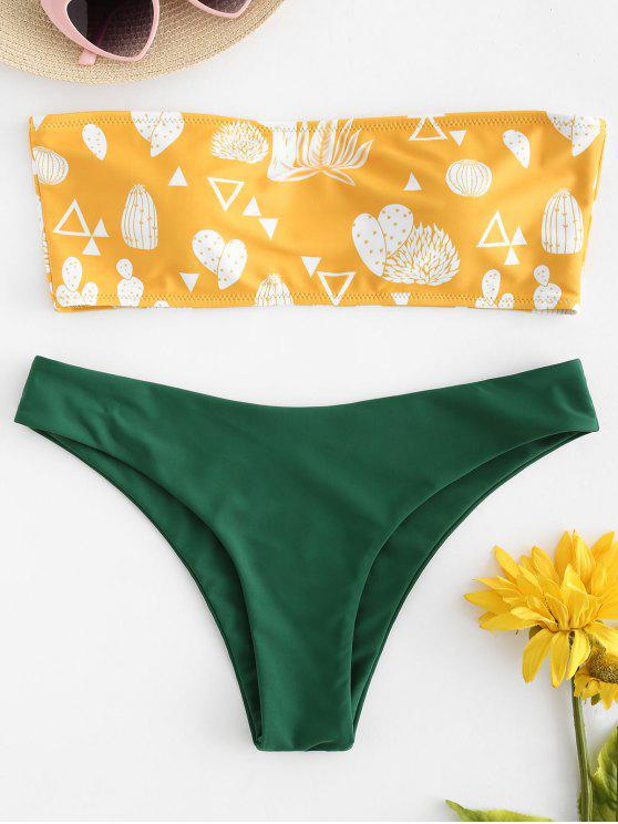 chic Contrast Printed Bandeau Bikini - RUBBER DUCKY YELLOW M