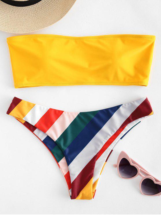 Bikini Bandeau A Rayas en Contraste - Caucho Ducky Amarillo S