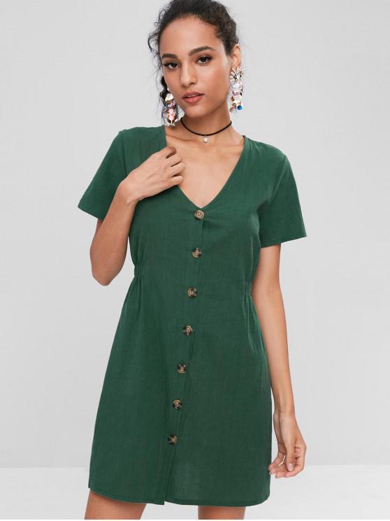 a3d72c1bc 32% OFF  2019 Mini Vestido Casual Con Botones En Verde Oscuro ...