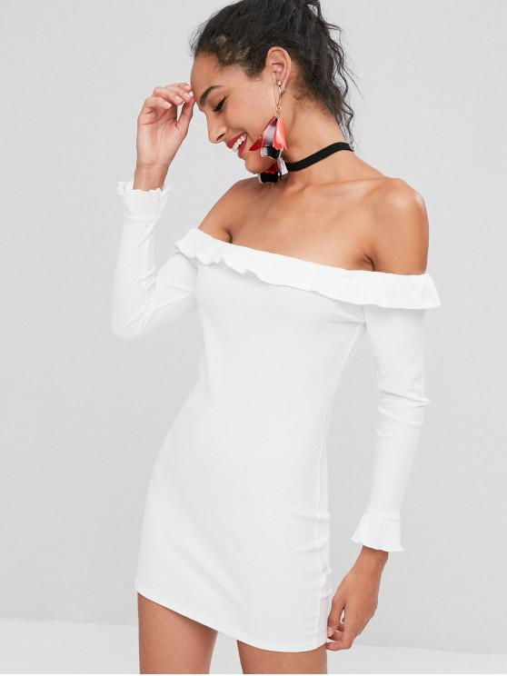new Off Shoulder Ruffles Fitted Dress - WHITE M