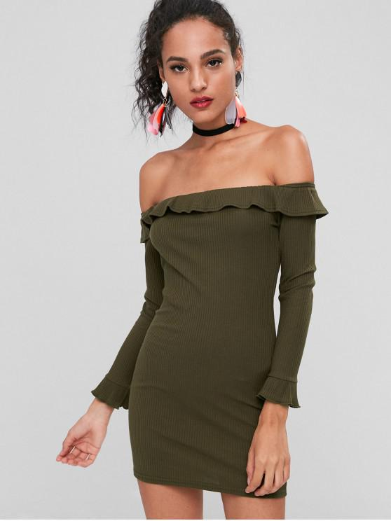 shops Off Shoulder Ruffles Fitted Dress - ARMY GREEN L