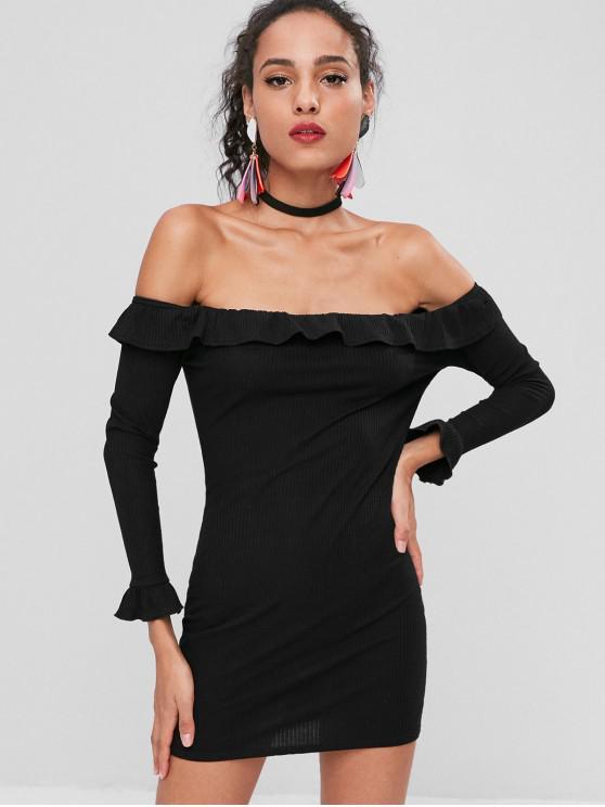 Schulterfreies Rüschen Ausgestattetes Kleid - Schwarz 2XL