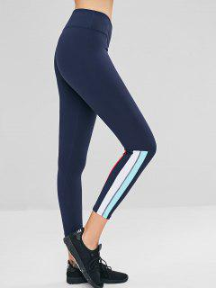 Stripes Panel Ninth Sports Leggings - Dark Slate Blue S