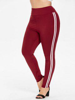 Plus Size High Waisted Striped Side Leggings - Red Wine 3x