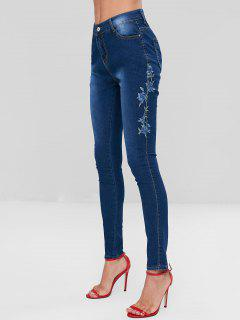Floral Embroidered Skinny Jeans - Deep Blue M