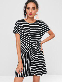 Striped Tie Front Mini Dress - Black S