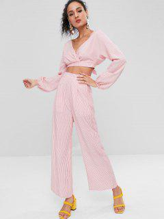 Cut Out Back Striped Pants Set - Red M