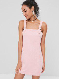 Square Faux Suede Mini Dress - Pink Bubblegum L