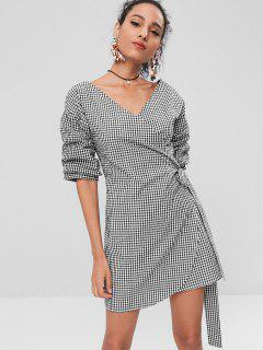 Casual Gingham Wrap Dress - Black S