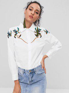 Button Up Leaves Embroidery Shirt - Milk White L