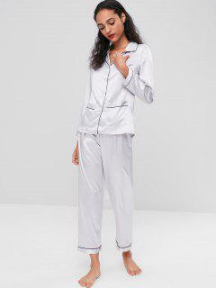 Satin Sleep Shirt And Pants Set - Light Gray Xl