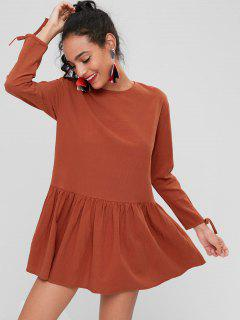 Long Sleeve Back Button Dress - Chocolate S