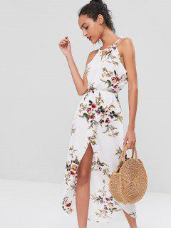Cut Out Floral Overlap Dress - White L