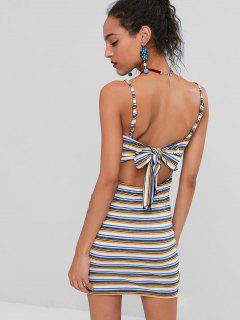 Knotted Back Striped Cami Dress - Multi-a M