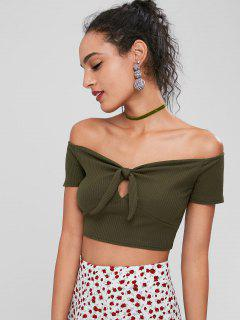 Off Shoulder Crop Knnotted Tee - Army Green M