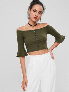 Off Shoulder Buttons Crop Tee - Army Green M