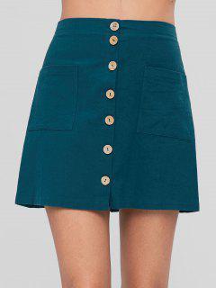 Button Up A Line Falda Con Bolsillos - Azul Verdoso Xl