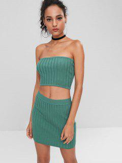 Ribbed Tube Top And Skirt Set - Sea Green L