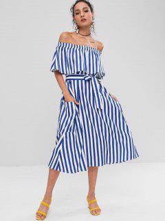 Off Shoulder Striped Casual Dress - Cobalt Blue S