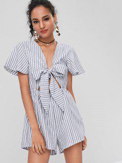 Stripes Tie Front Romper - White S