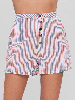 Snap Button Striped Shorts - Multi S