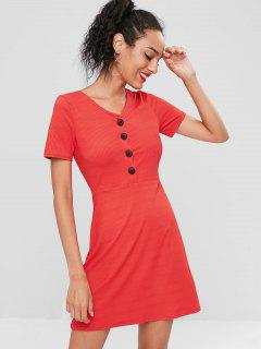 Button Up Ribbed Mini Dress - Red S