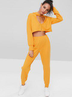 Keyhole Crop Hoodie Pants Set - Bright Yellow L