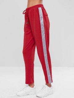 High Waist Side Patched Pants - Red L