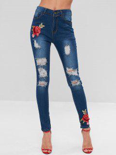 Pantalones Vaqueros Rasgados Remendados Florales - Azul Oscuro De Denim M