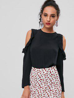 Cold Shoulder Ruffles Blouse - Black M