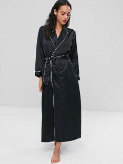 Robe De Nuit Maxi En Satin Avec Col Châle  - Noir