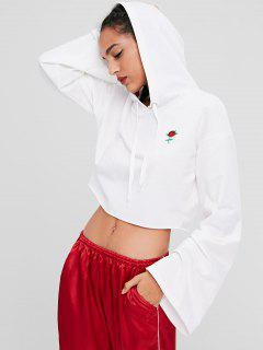 Floral Embroidered Crop Hoodie - White M
