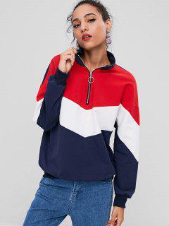 Reißverschluss Vorder Farbblock Sweatshirt  - Multi S