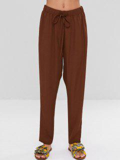 High Waisted Drawstring Pants - Brown L