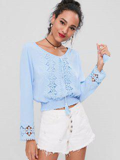 Smocked Crochet Tassels Top - Light Sky Blue L