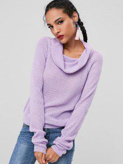 Cowl Neck Chunky Knit Sweater - Lavender Blue