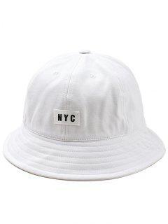 Lightweight NYC Label Bucket Hat - White