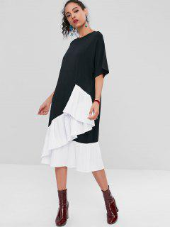 Asymmetric Pleated Two Tone Casual Dress - Black L