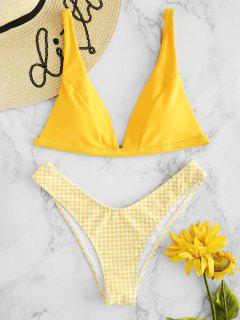 Conjunto De Bikini De Tacón Alto De Cuadros - Amarillo Brillante L