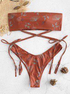 Blatt-Druck-Krawatte Bandeau-Bikini-Set - Roter Fuchk L
