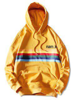 Drawstring Rainbow Print Hoodie - Yellow 2xl