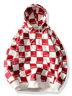 Allover Check Print Drawstring Hoodie - Red L