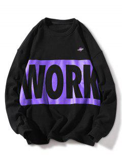 Crew Neck Letter Print Casual Sweatshirt - Black 2xl