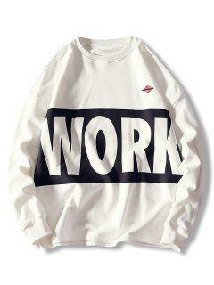 Crew Neck Letter Print Casual Sweatshirt - White L