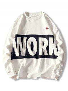 Sweat-shirt Décontracté Lettre Imprimée à Col Rond - Blanc 2xl