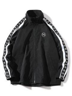 Embroidery Letter Stripe Zip Up Jacket - Black Xl