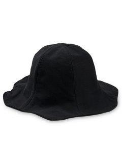 Sombrero De Pescador De Ala Ancha Color Sólido - Negro